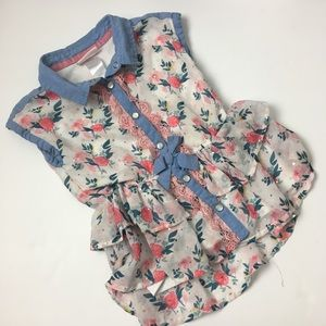Little Lass girls button down floral blouse